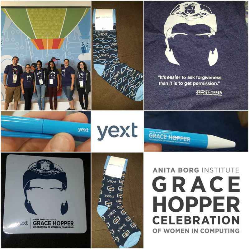 Yext's GHC Swag Collage