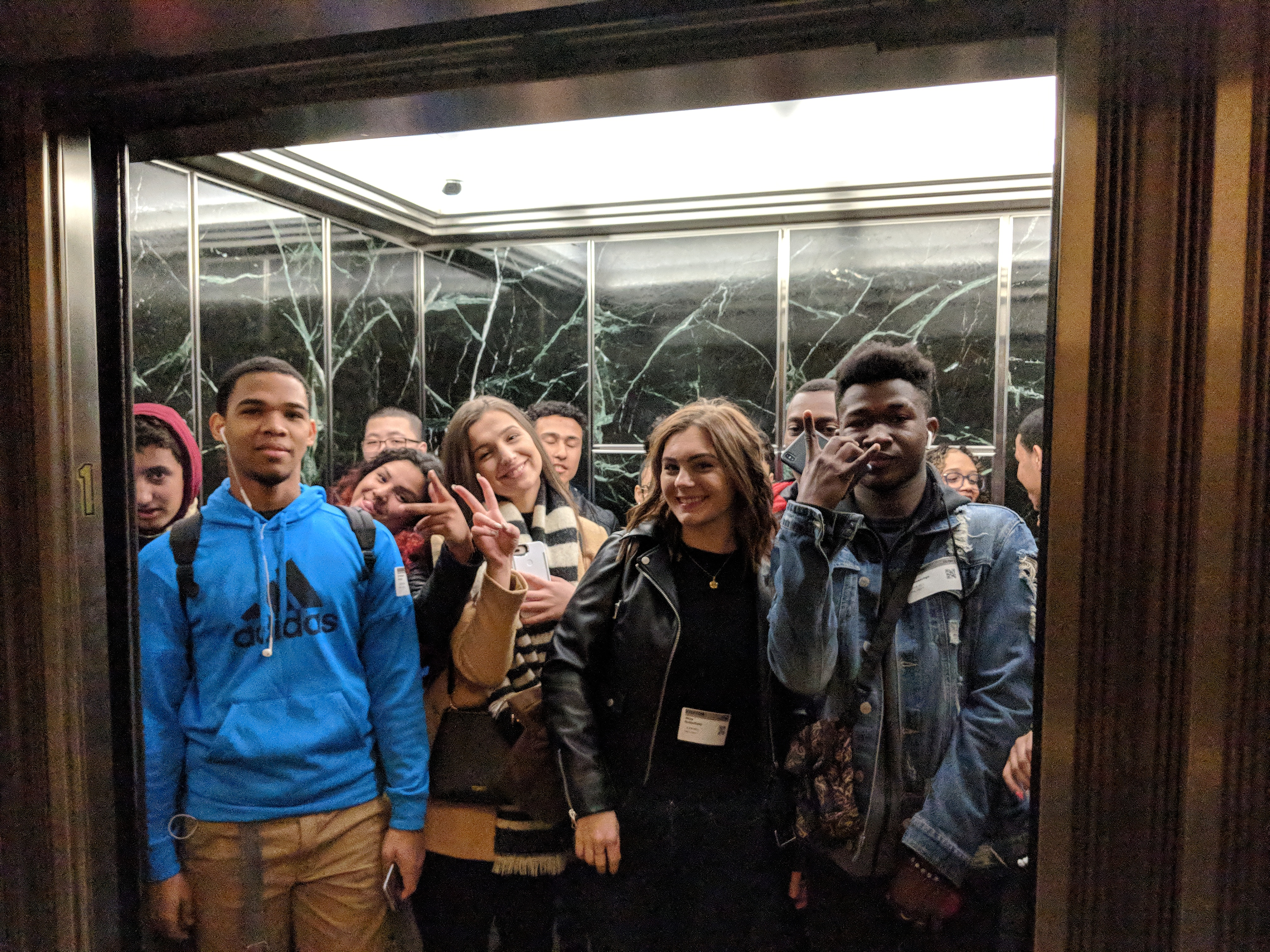 Students in elevator