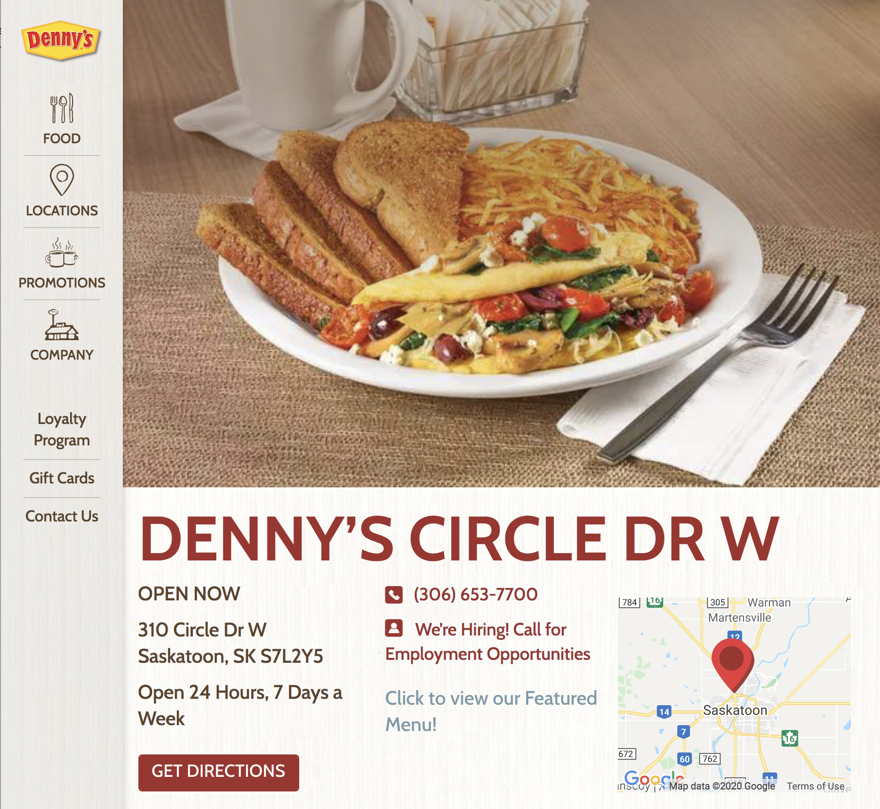 Denny's Location Page