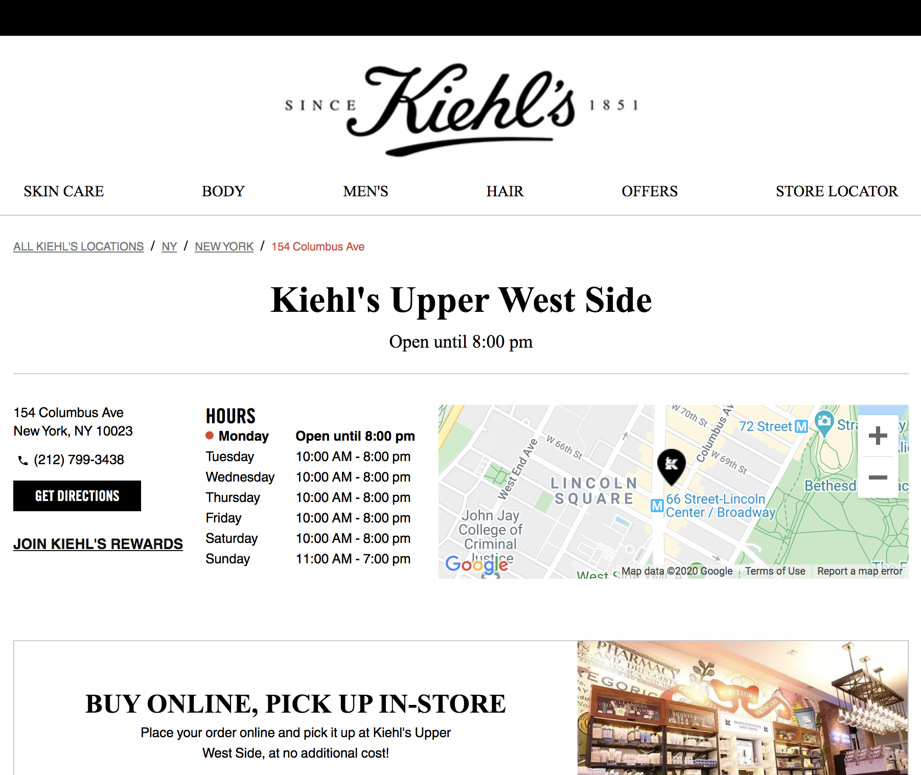 Kiehl's Location Page