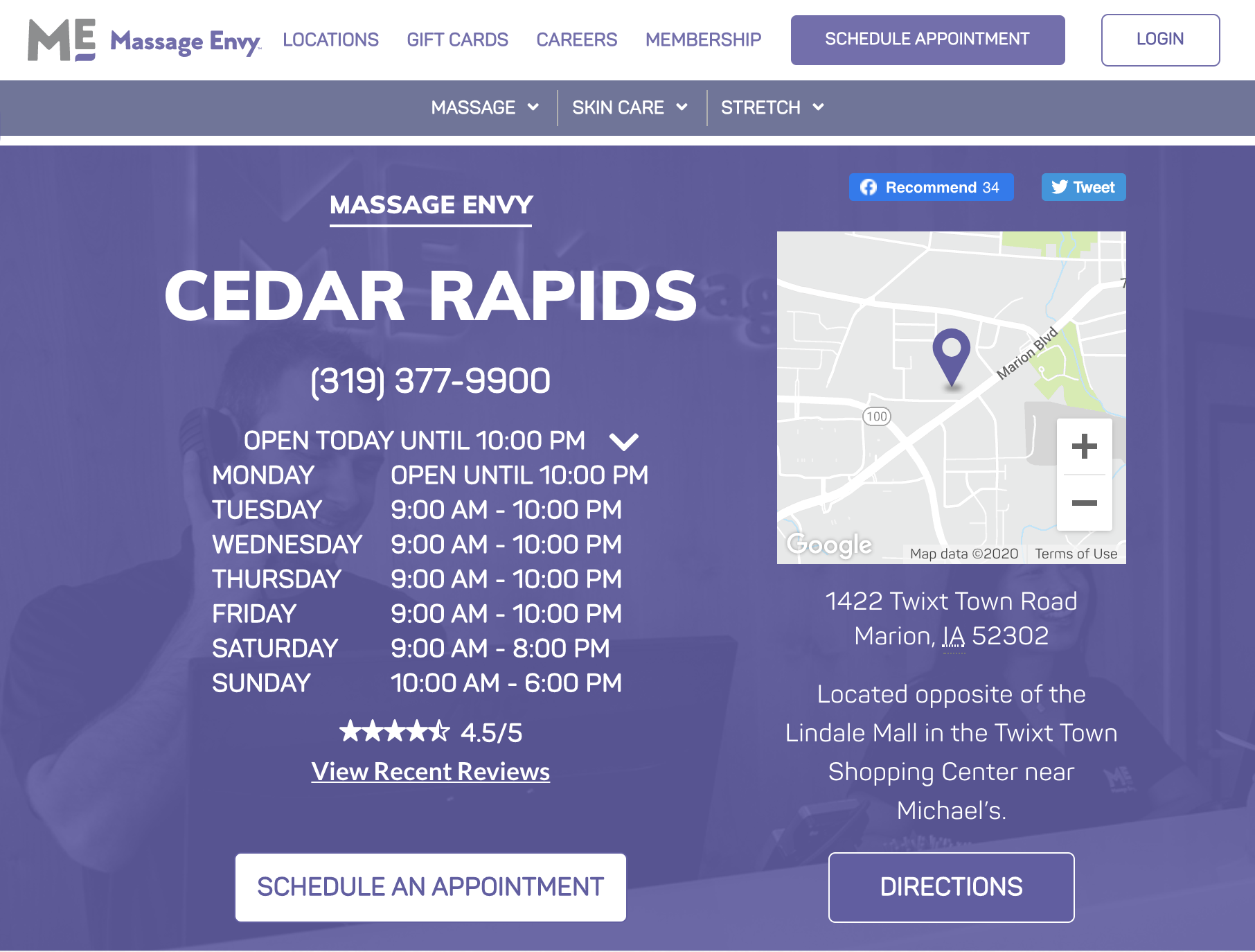 Massage Envy Location Page