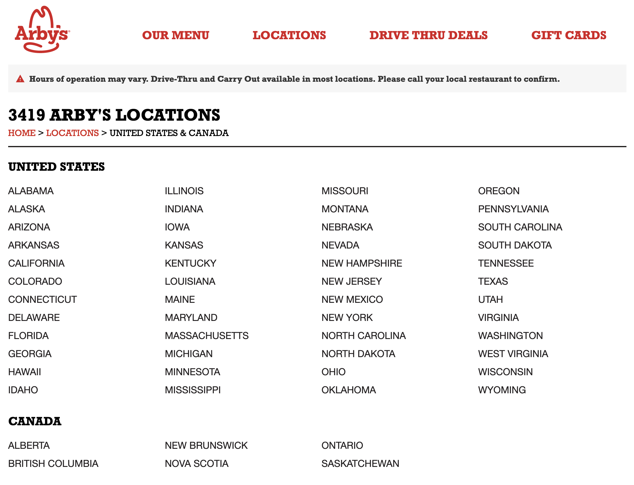 Arby's Directory Page