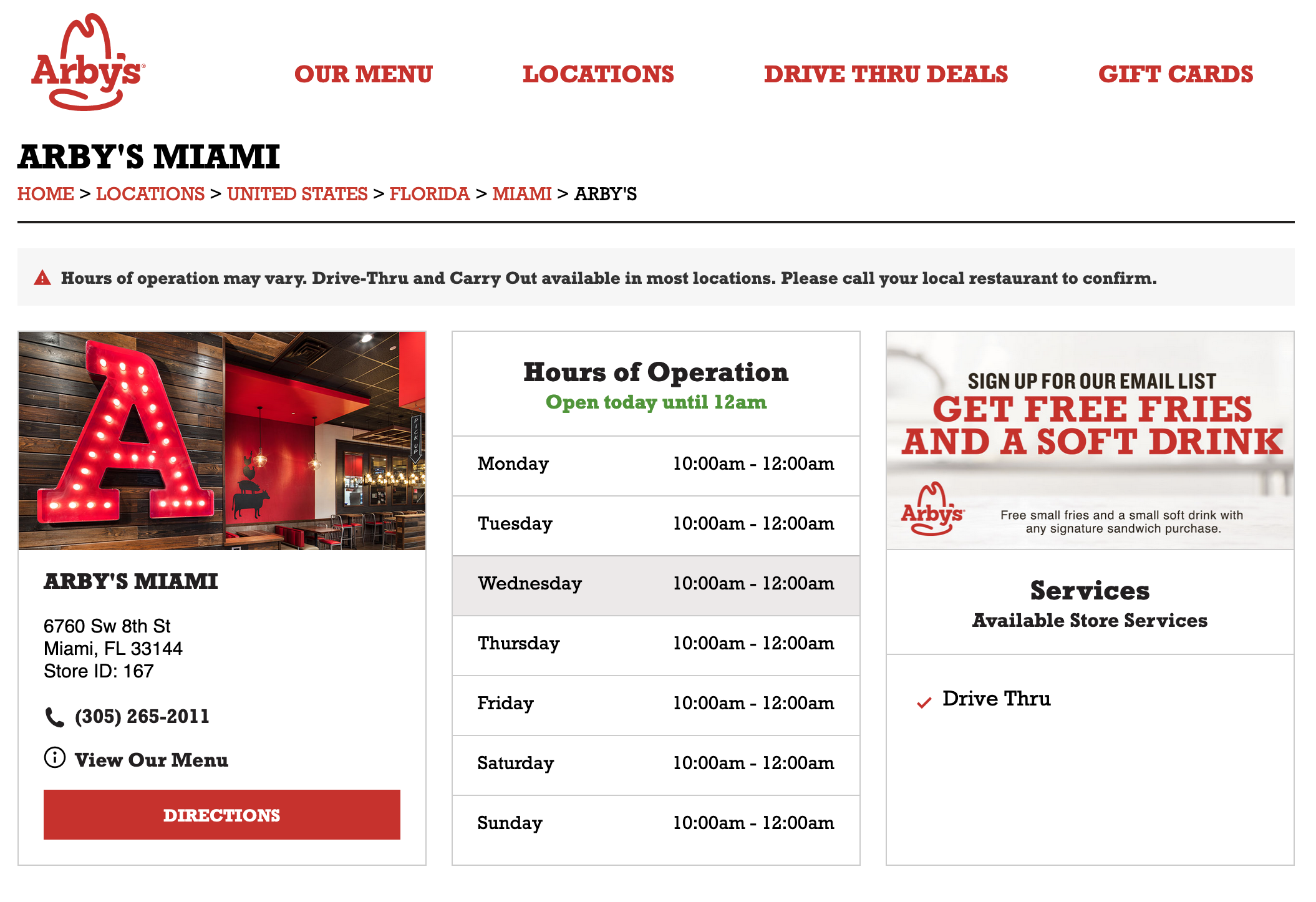 Arby's Location Page